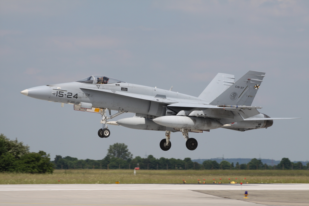 Spanish F-18 just before touchdown after another Elite 2010 mission