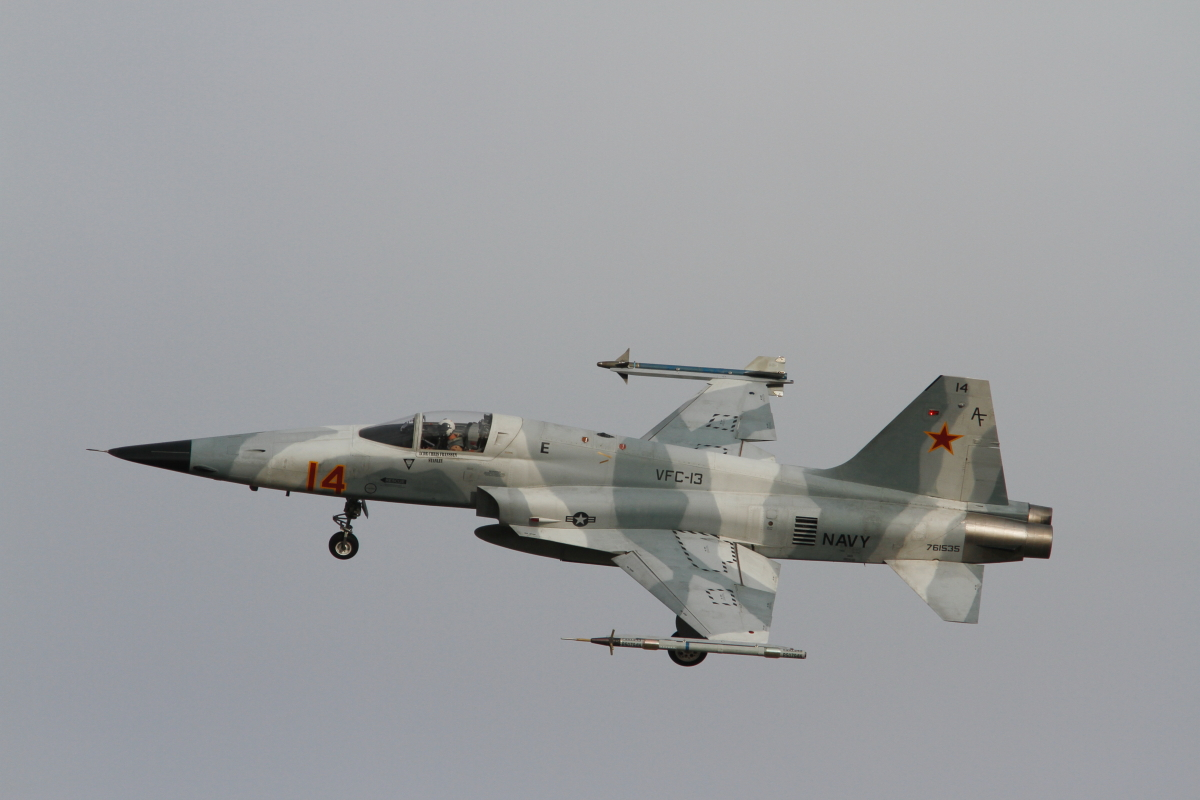 F-5E of VFC-13 in gray camo scheme